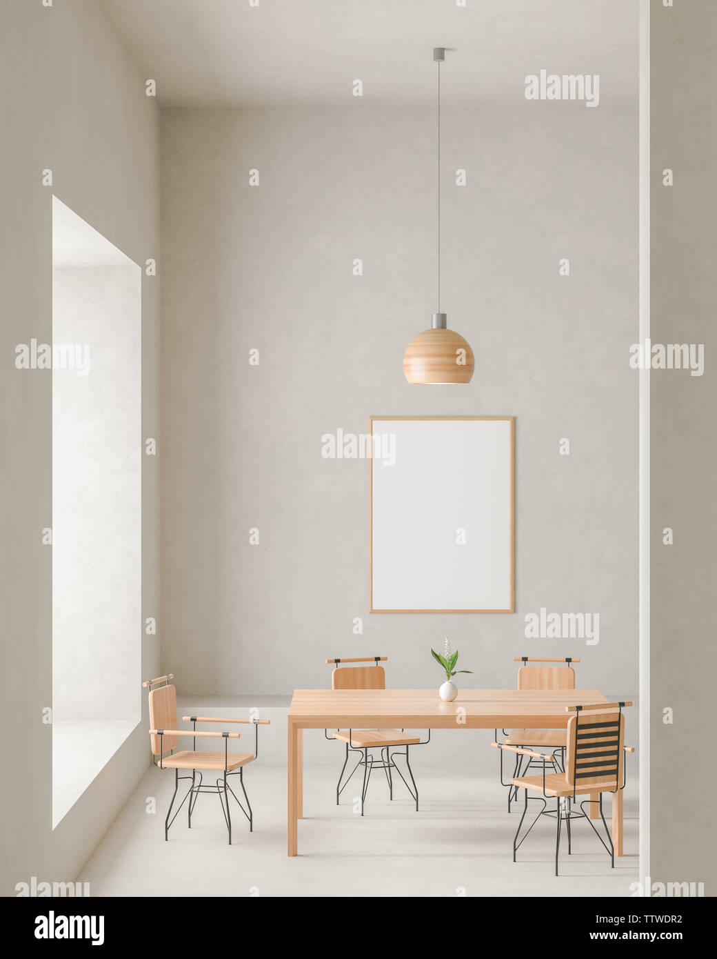 Mock Up Poster Frame In Modern Spacious Dining Room With Concrete Walls Minimalist Dining Room Design 3d Illustration Stock Photo Alamy