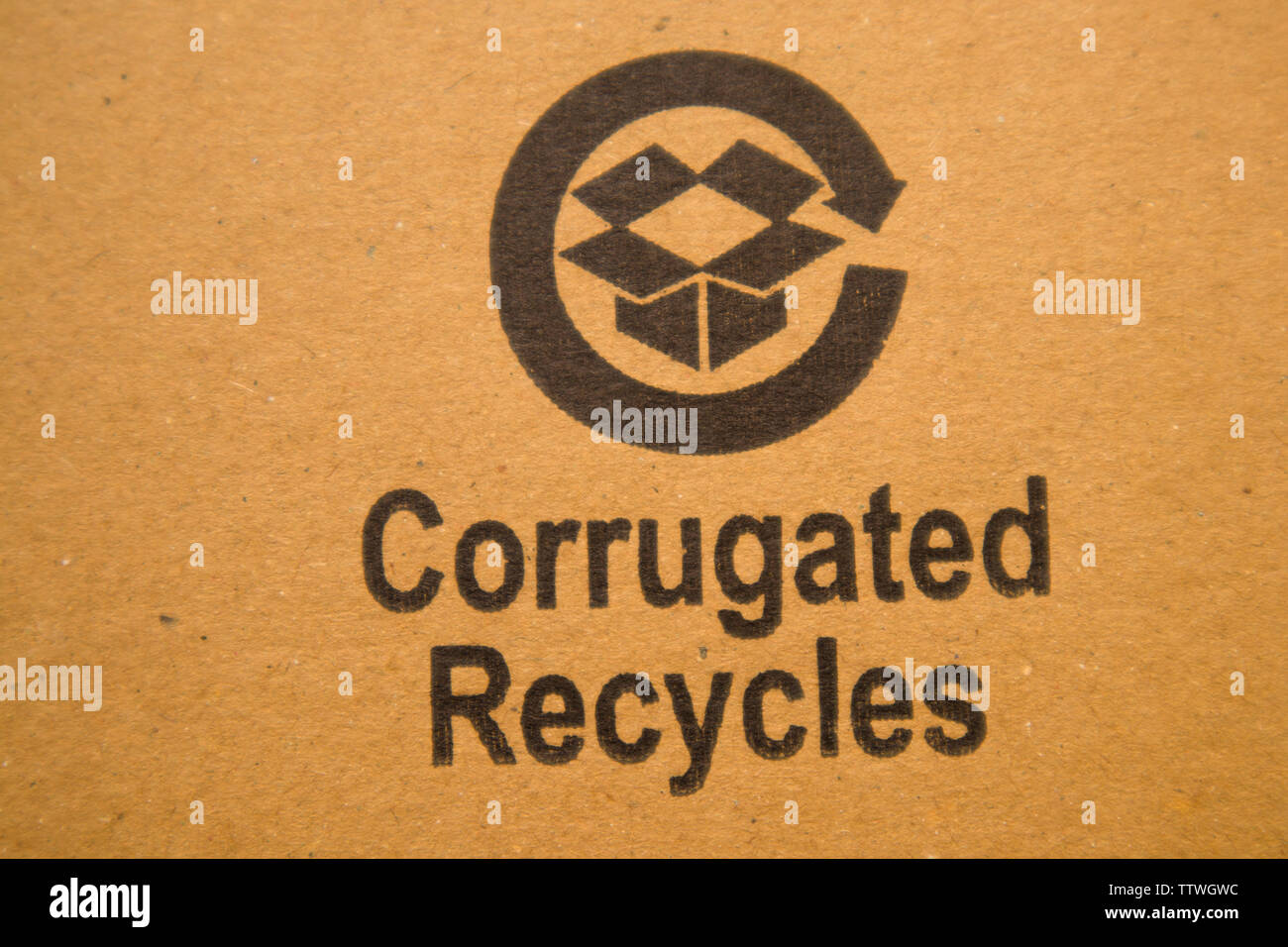 BANGALORE INDIA June 13, 2019 : Corrugated recycles printed on card board. - Stock Image