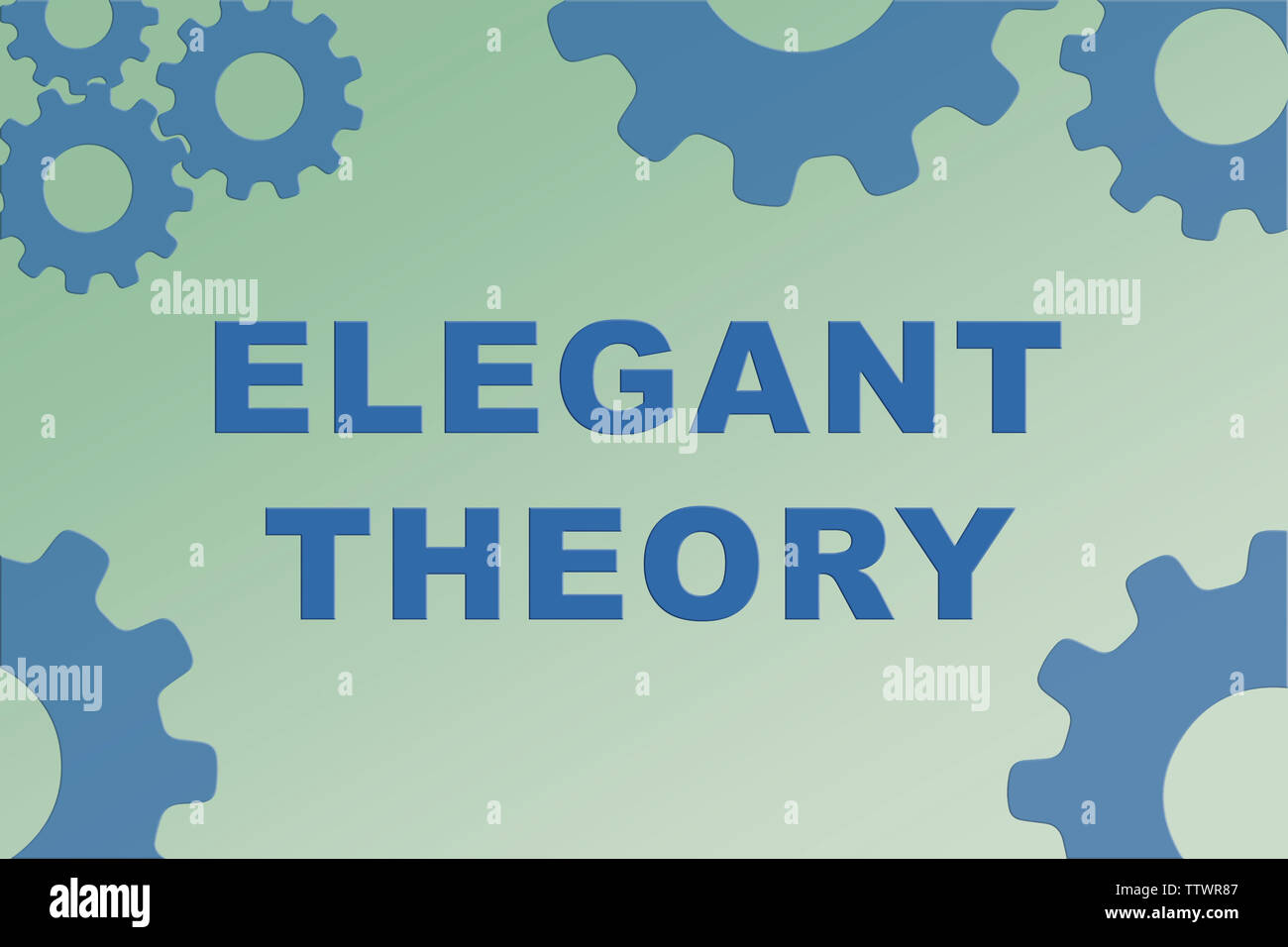 ELEGANT THEORY sign concept illustration with blue gear wheel figures on pale green gradient - Stock Image
