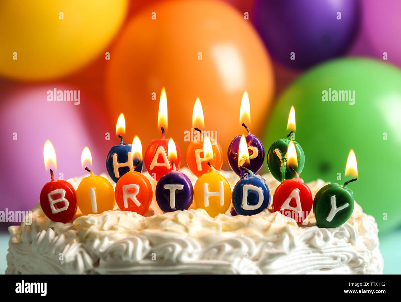 Brilliant Birthday Cake With Candles On Balloons Background Stock Photo Personalised Birthday Cards Veneteletsinfo