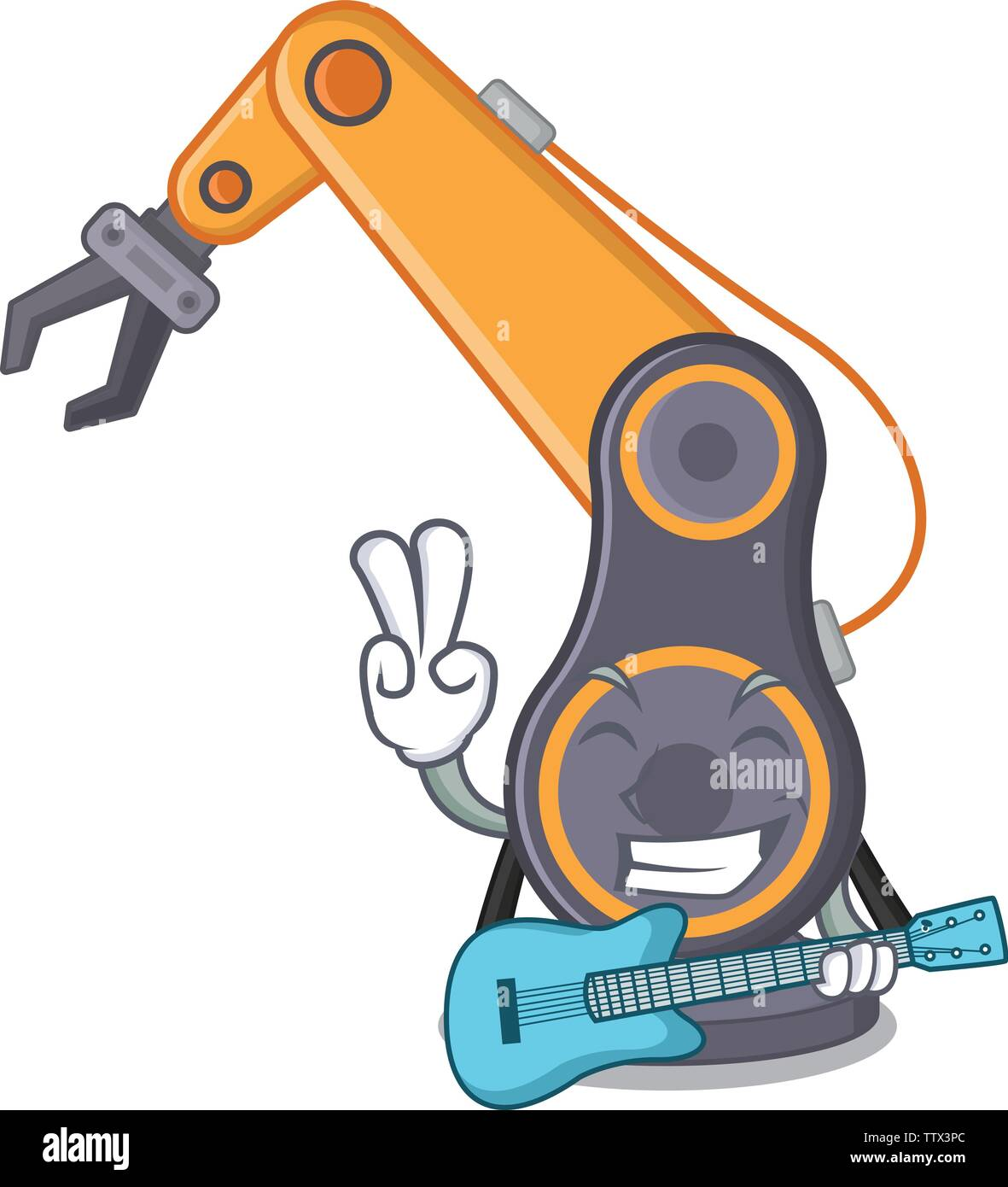 With guitar industrial robotic hand isolated with cartoon - Stock Image