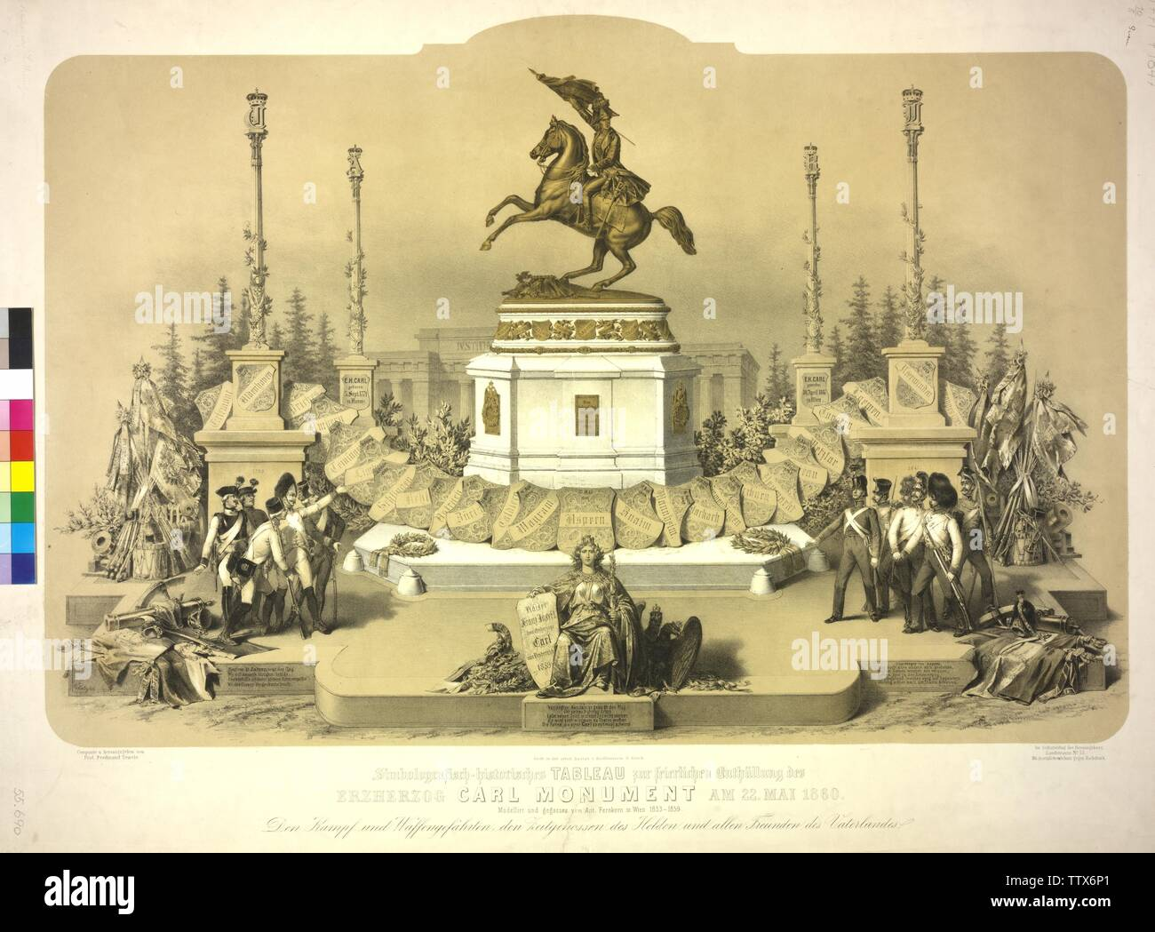 symbol-graphic historical tableau to the solemn uncovering of the Archduke Carl monument on 22. May 1860, equestrian monument on the Heldenplatz (square) in Vienna for Karl, Archduke of Austria, by Anton Dominic von Fernkorn. toned lithograph by Vinzenz Katzler based on a draft by Ferdinand Tewele, Additional-Rights-Clearance-Info-Not-Available - Stock Image