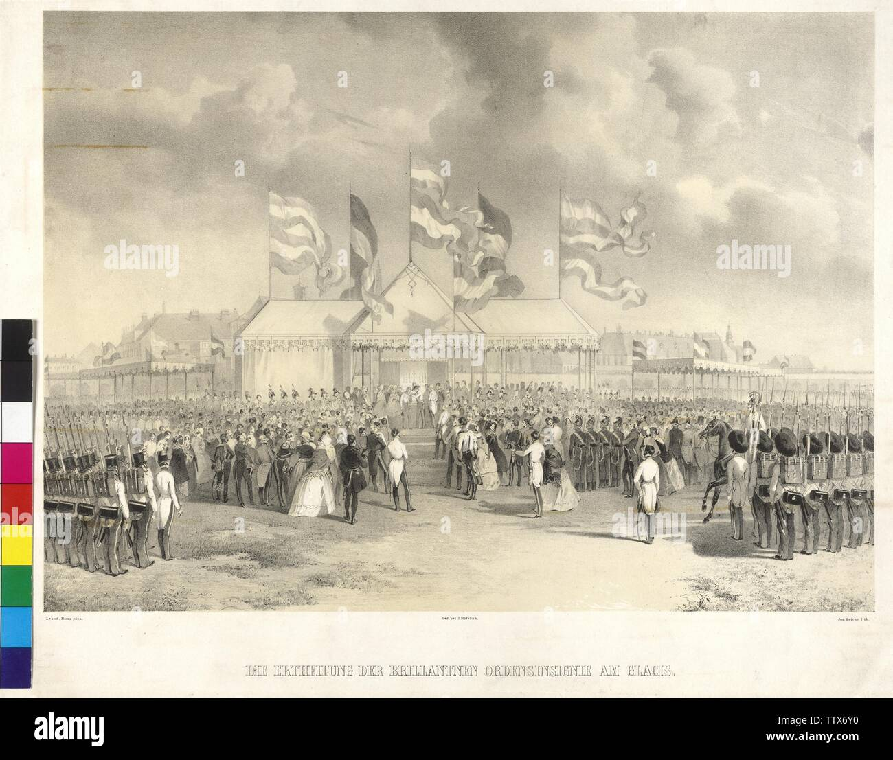 issuance of the brilliant insignia of the Order at glacis, on 5.4.1843 was Archduke Karl the Grand Cross of the military Mary Theresia Order bestow, lithograph by Joseph Heicke based on a watercolour by Leander Russ, Additional-Rights-Clearance-Info-Not-Available - Stock Image