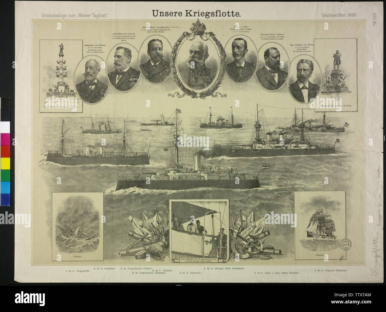 our navy, tableau with motifs of the Imperial and Royal navy: ships, monument and portrait. toned lithograph, Additional-Rights-Clearance-Info-Not-Available - Stock Image