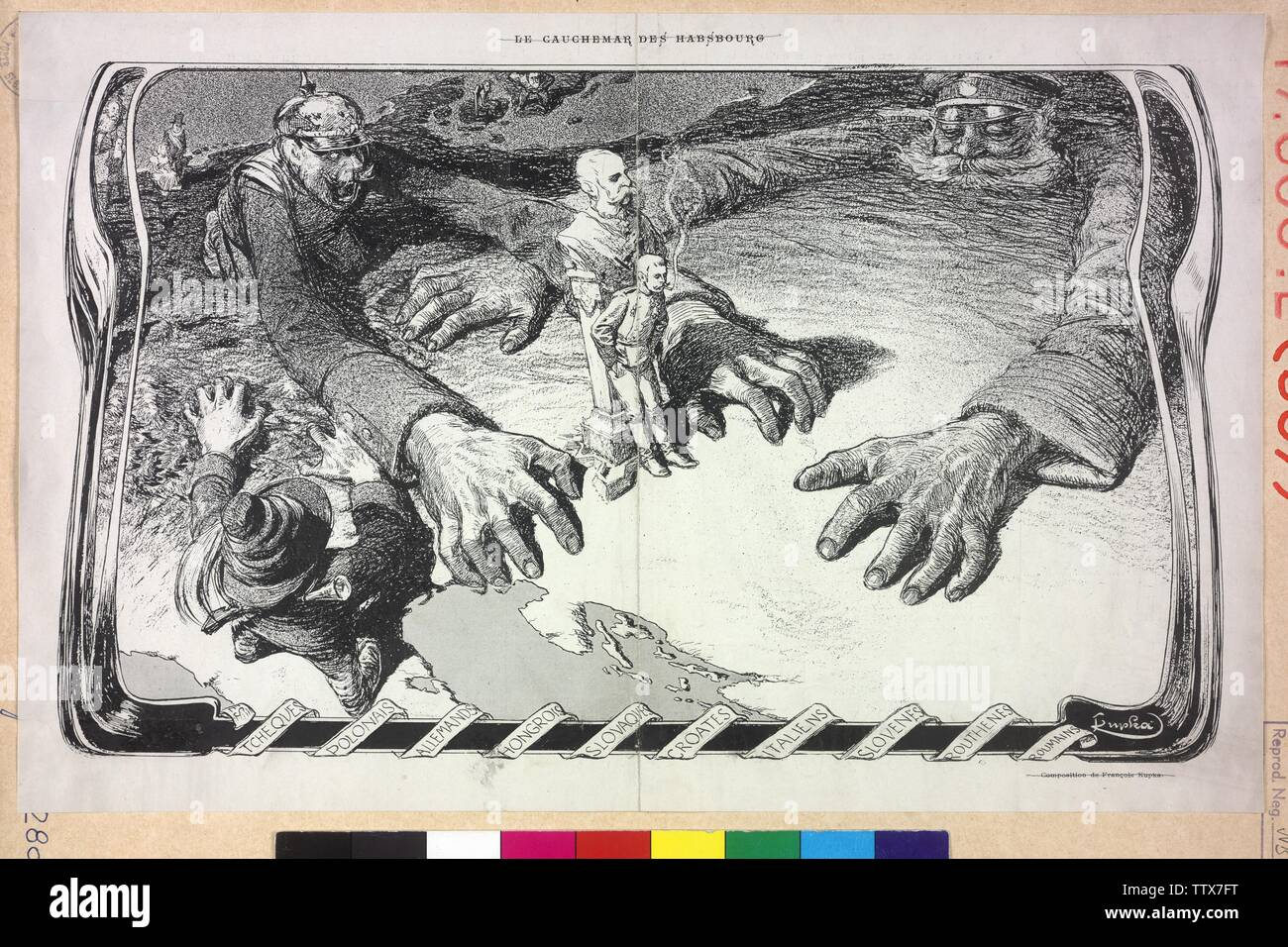 The incubus of the Habsburg ('Le Cauchemar des Habsbourg'), caricature on the Habsburg monarchy: Franz Ferdinand at the bust of Franz Joseph resting, beneath the map with the territory of the House of Habsburg, the of the poor man of a Russian and of a Prussian soldiers surround is, a Bersaglieri (Italian infantry) grab to Tyrol. detail from the French journal 'Cocorico' (1901), Additional-Rights-Clearance-Info-Not-Available - Stock Image