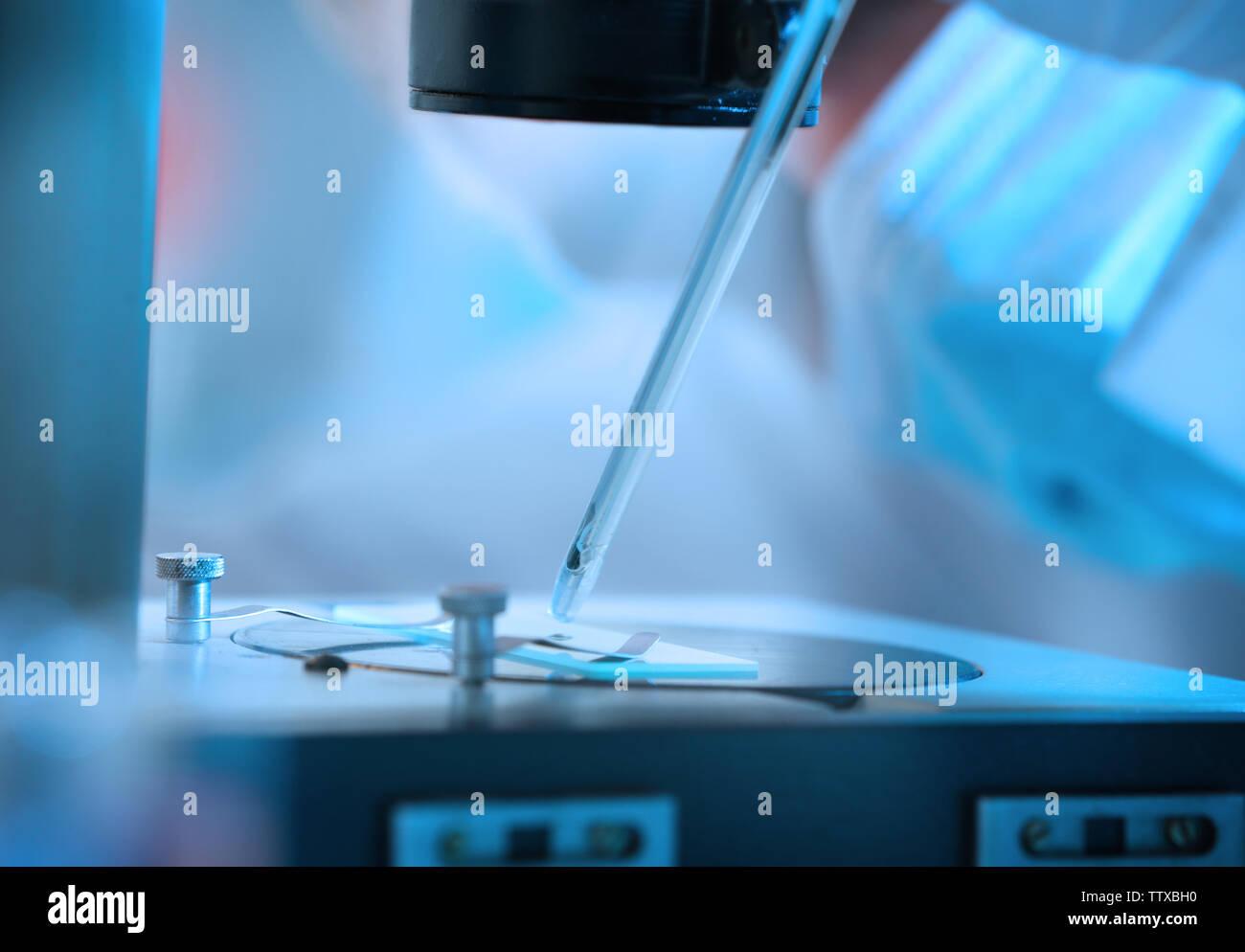 Scientist making experiments, closeup - Stock Image