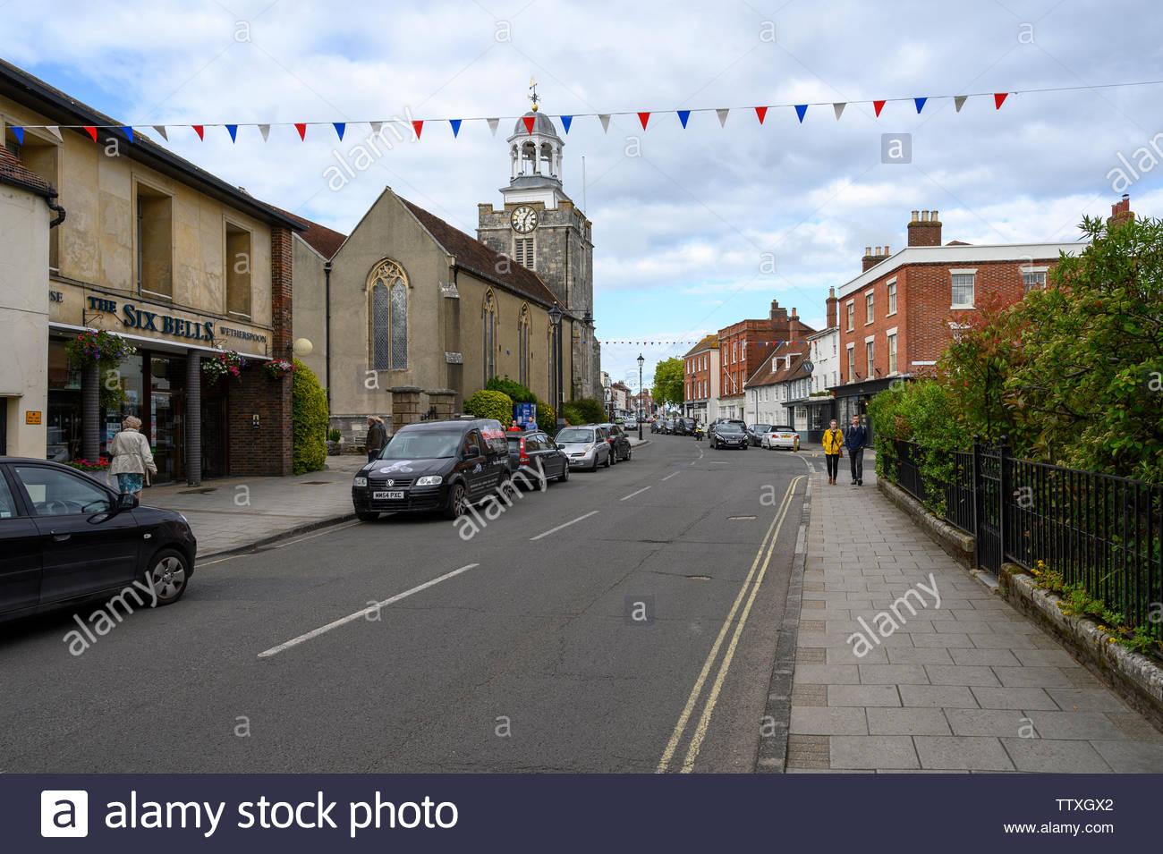 St Thomas Street, Lymington, Hampshire, England, UK - Stock Image