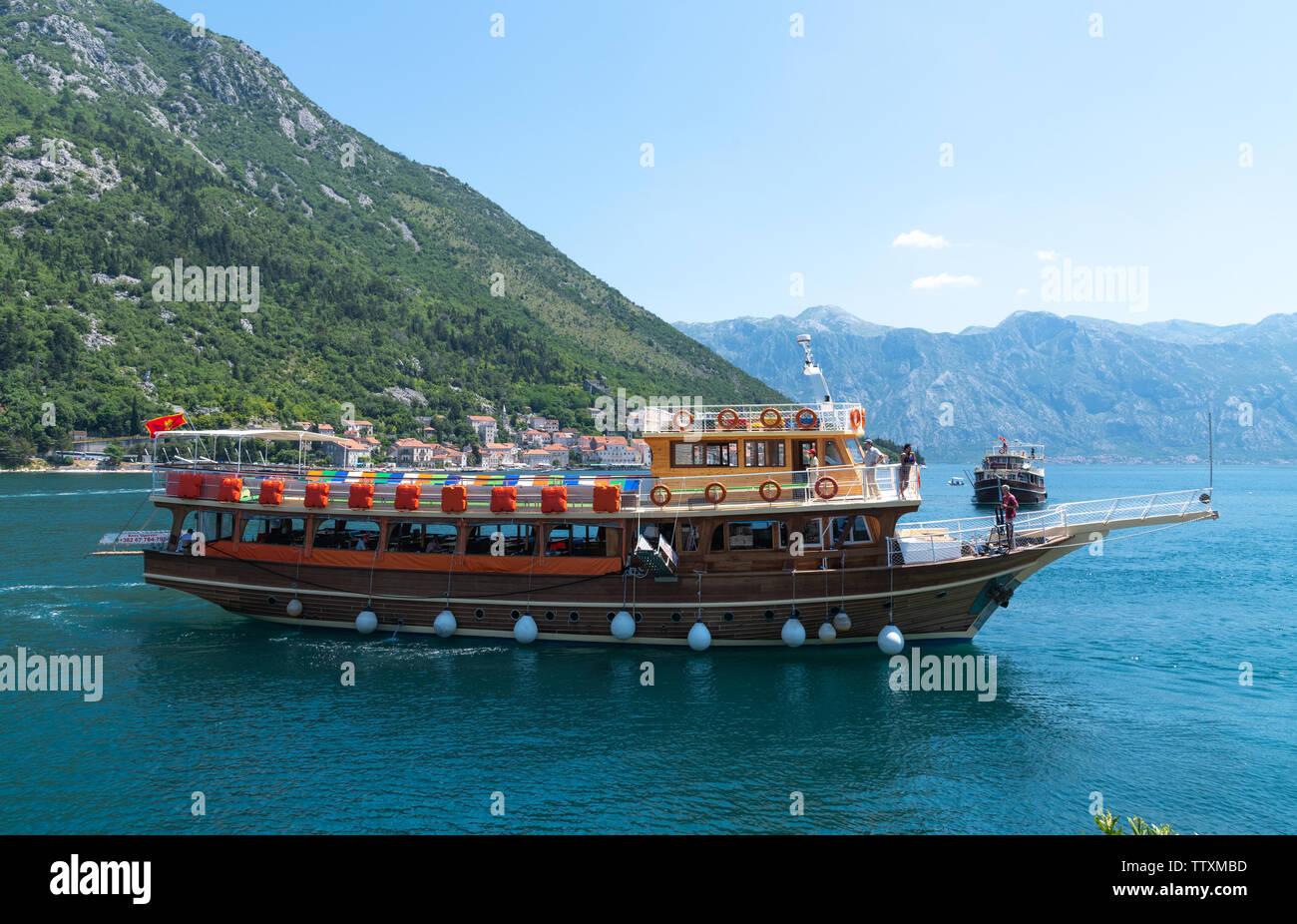 Perast, Montenegro - June 10. 2019. Beautiful excursion boat in a Boka-Kotorska bay - Stock Image