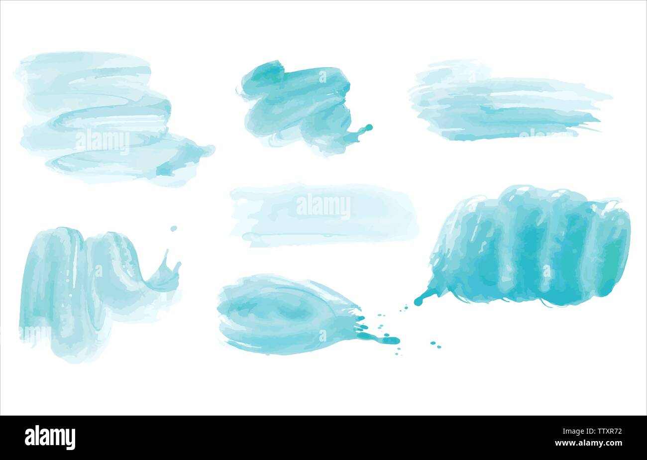 Watercolor. Blue vector abstract painted ink strokes set on watercolor paper. Ink strokes. Flat kind brush stroke. Stock Vector