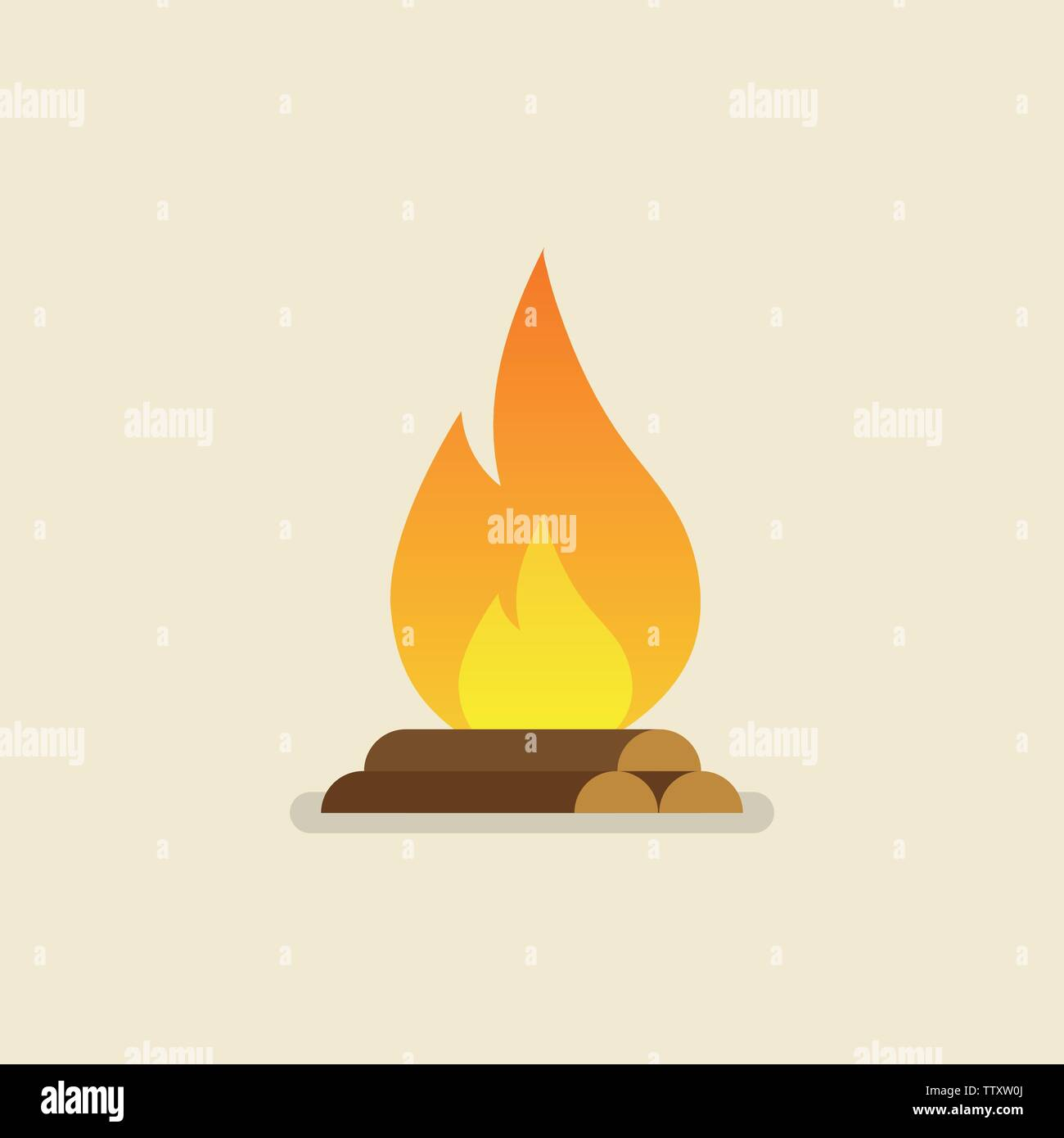 Burning bonfire with wood. Vector illustration Stock Vector