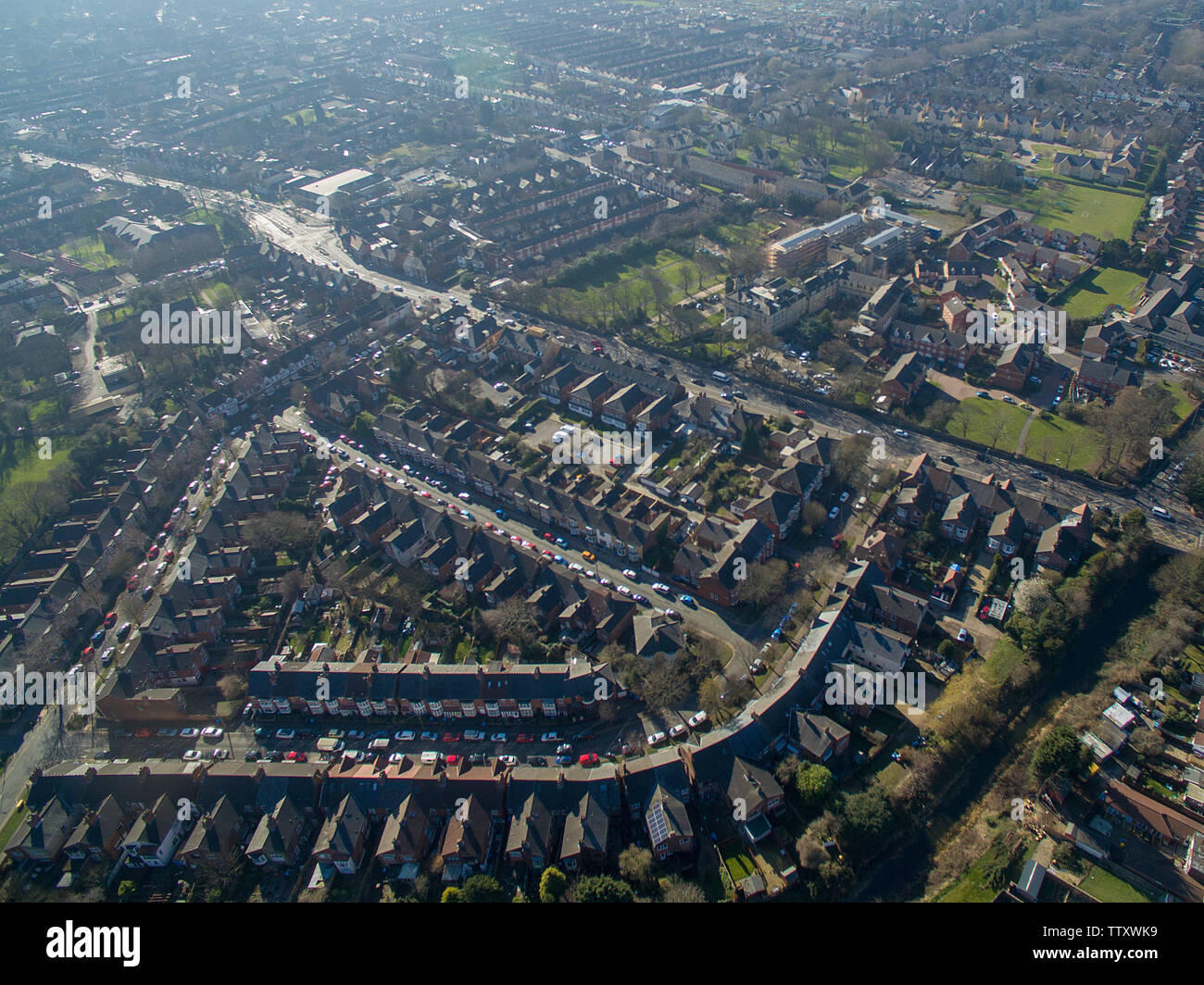 aerial view of Beverley road, kingston upon Hull Stock Photo