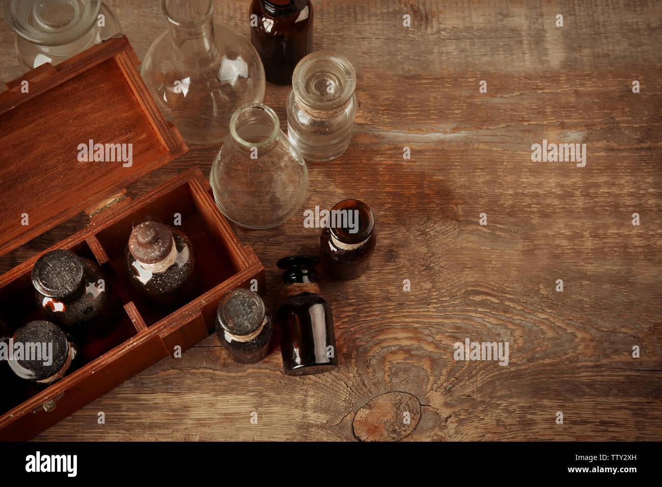 Vintage glass bottles, closeup - Stock Image