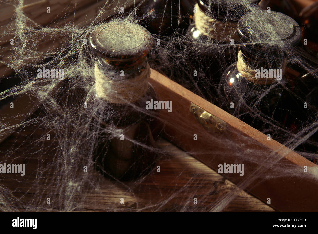 Vintage glass bottle with spiderweb, closeup - Stock Image