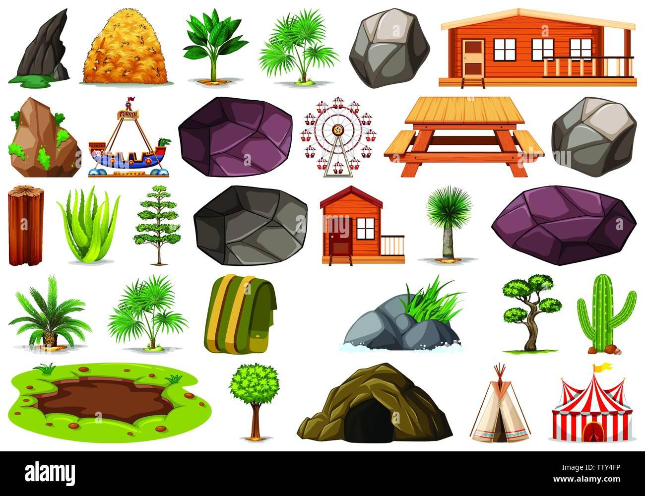Set of park element illustration - Stock Vector