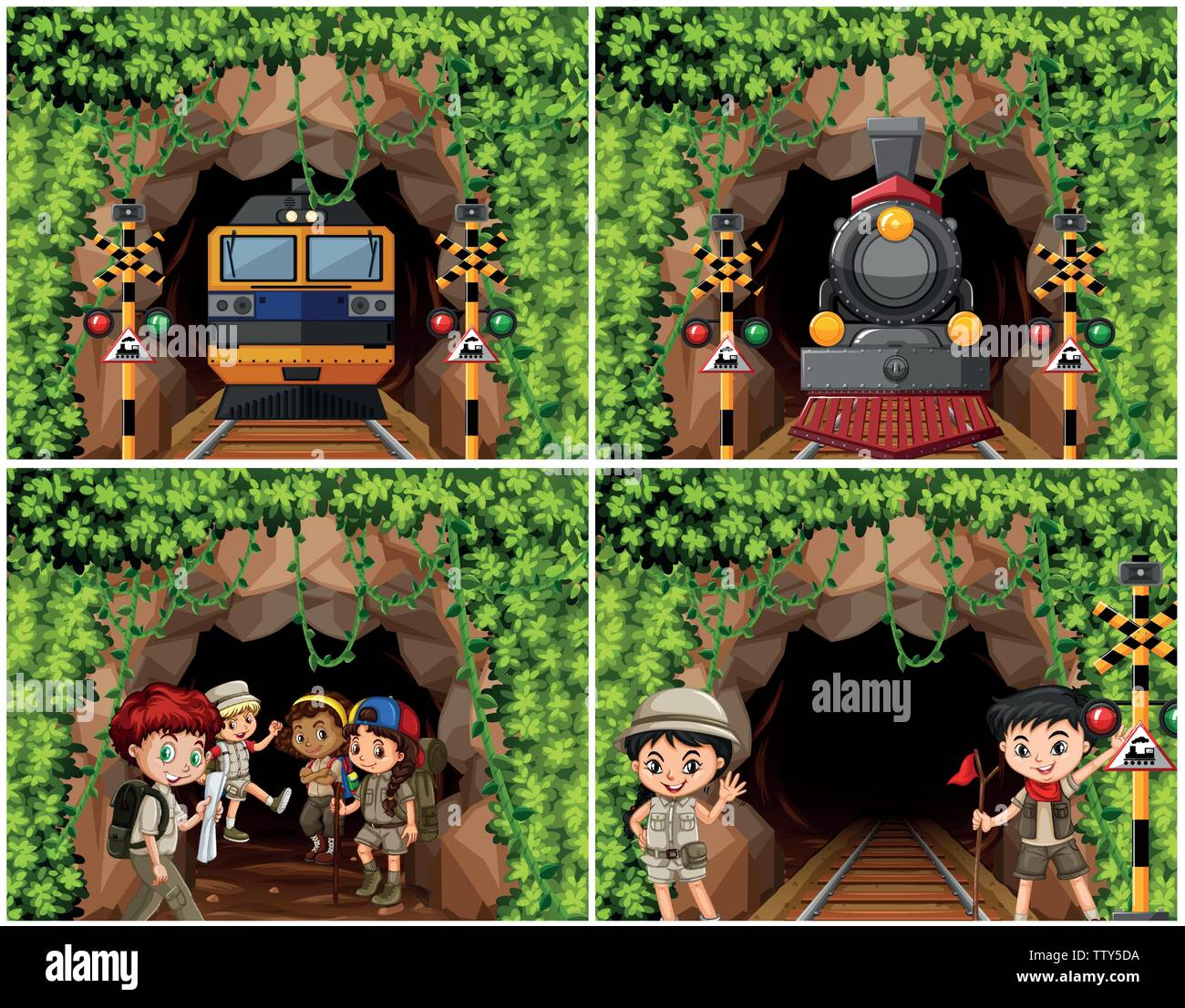 Set of camping kids exploring nature illustration - Stock Image