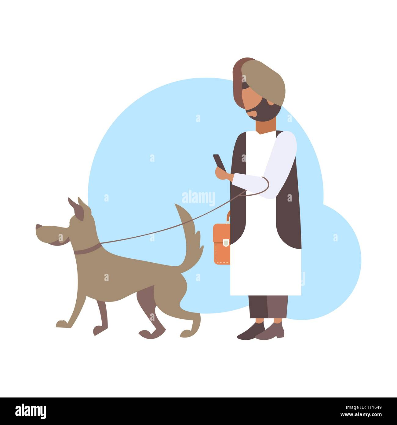 arabic man walking with dog arab character in traditional