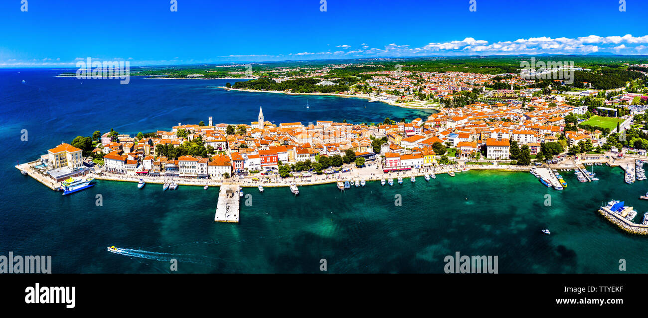 Aerial view of the old town of Porec in Croatia - Stock Image