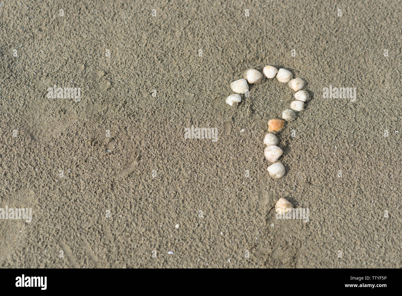 sea shells forming a question mark on a sandy beach. Concept of faq, travel tips and travel destinations - Stock Image
