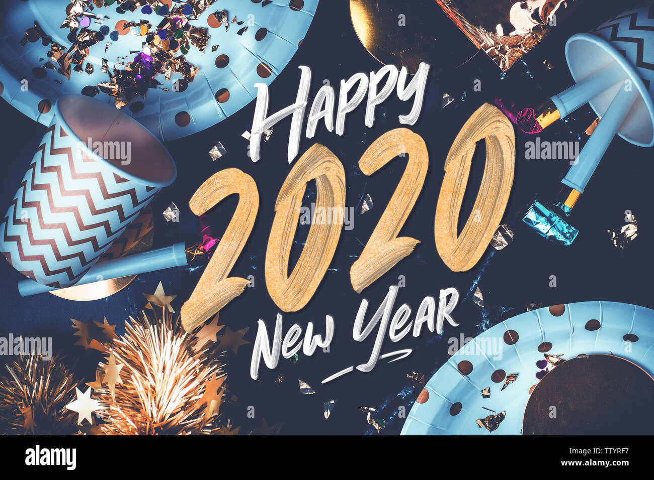 Funny Happy New Year 2020.2020 Happy New Year Hand Brush Storke Font On Marble Table