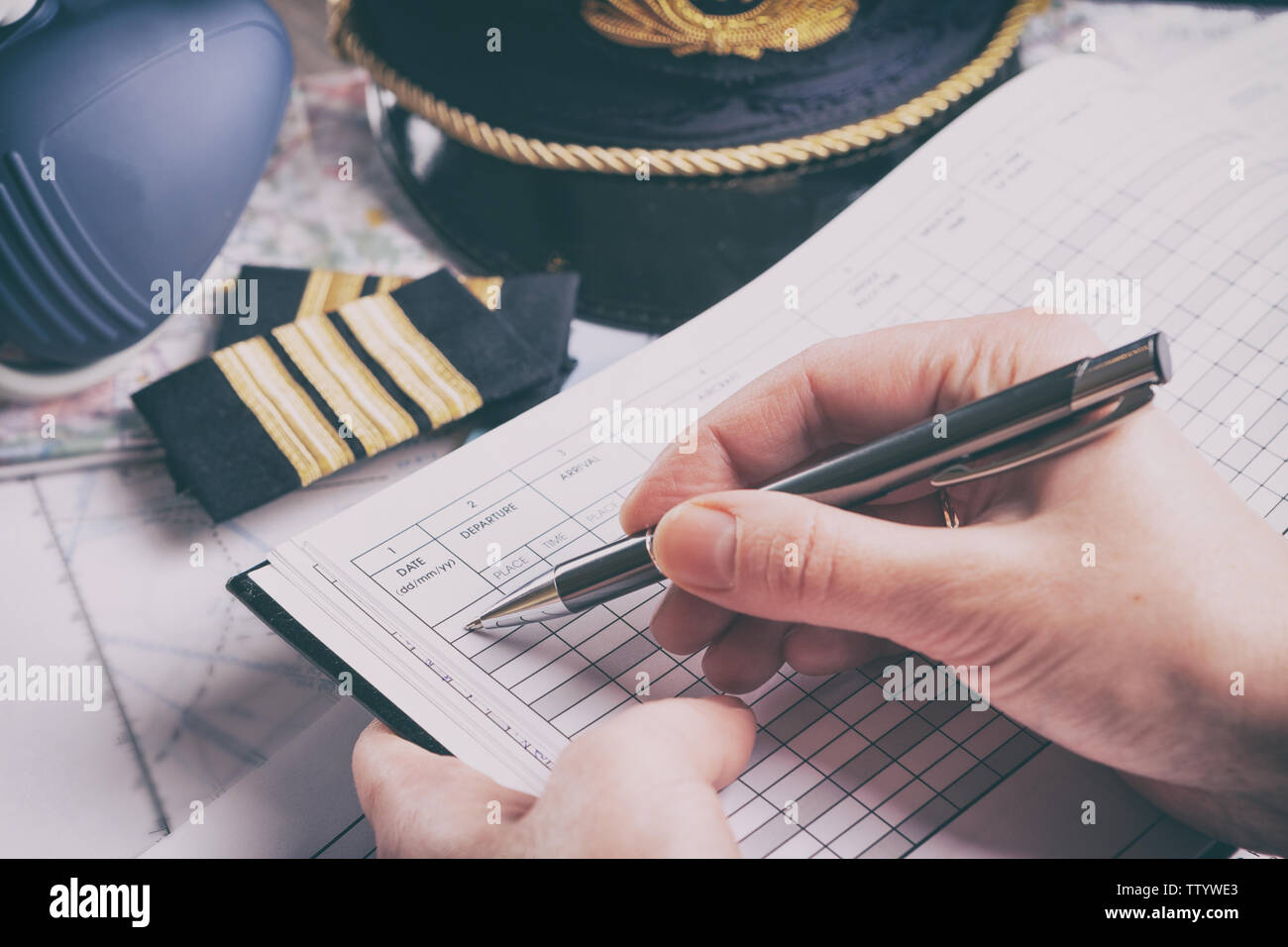 Pilot With Checklist Stock Photos & Pilot With Checklist Stock