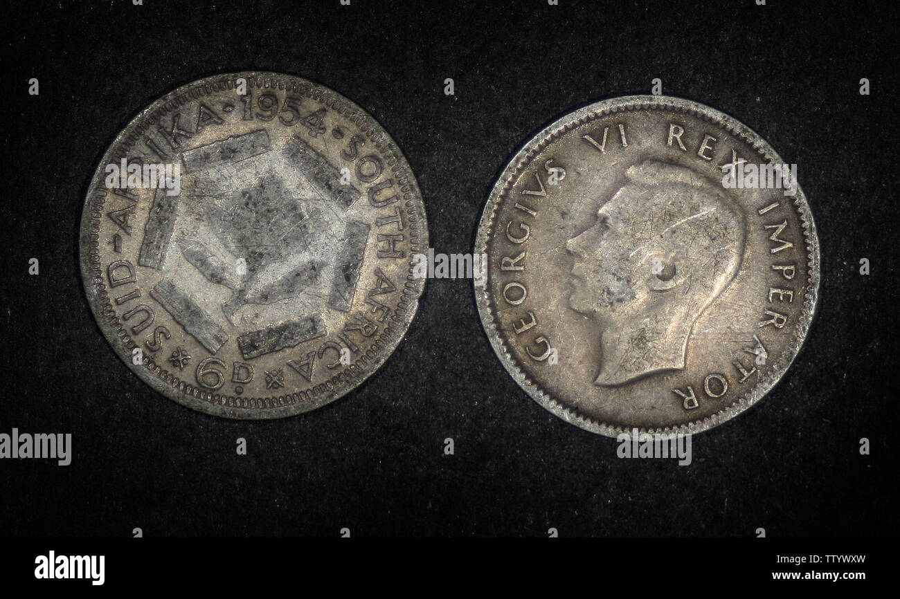 South Africa 6 pence, 1954 - Stock Image