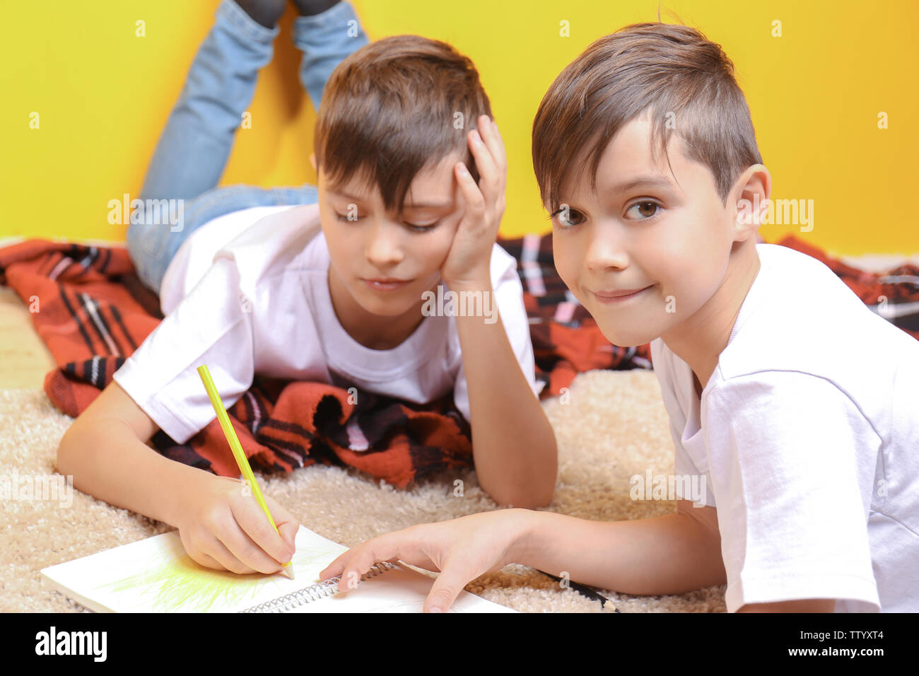 Boy Lying On Carpet Stock Photos Boy Lying On Carpet Stock