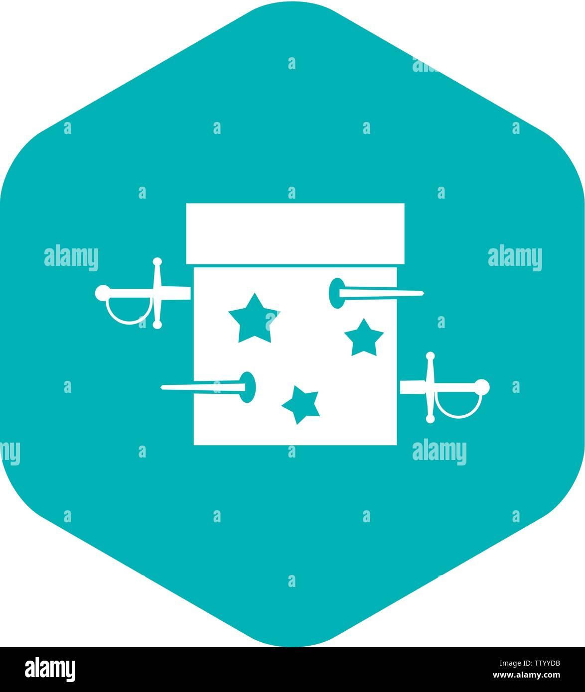 Sword box illusion icon, simple style - Stock Image