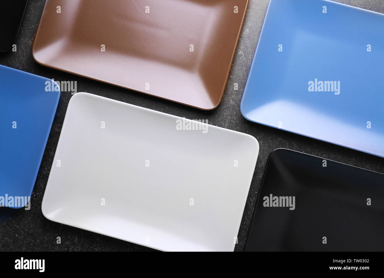 Color ceramic plates, top view - Stock Image