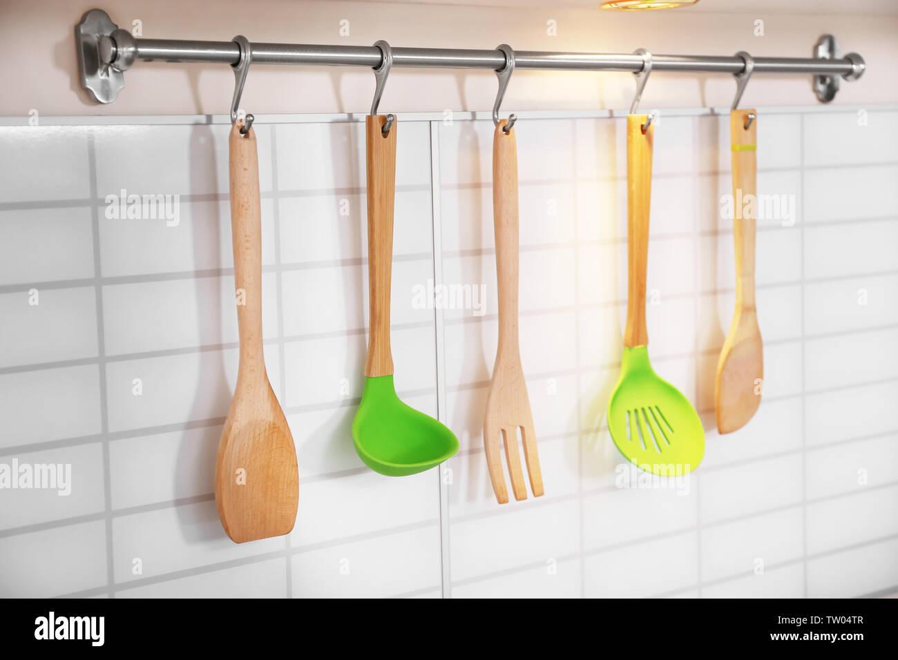 Set of utensils on kitchen - Stock Image