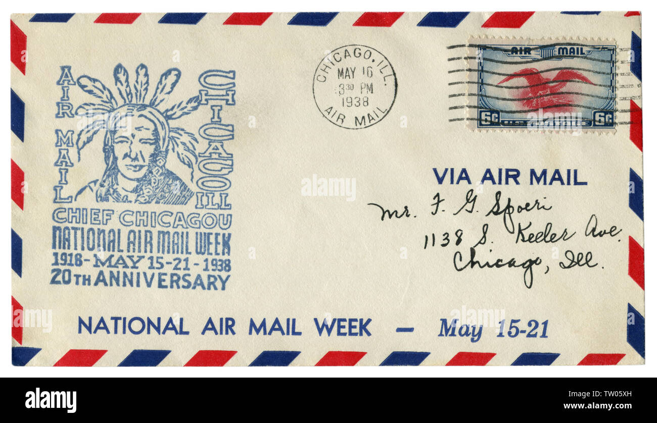 Chicago, Illinois, The USA - 16 May 1938: US historical envelope: cover with a cachet Chief chicagou national air mail week 20th anniversary 1918-38 - Stock Image
