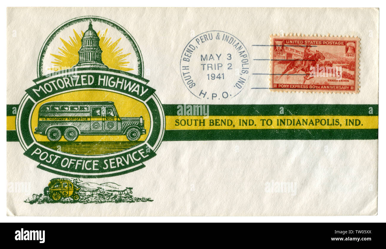 South Bend - Peru - Indianapolis, Indiana, The USA  - 3 May 1941: US historical envelope: cover with cachet Motorized highway post office service. - Stock Image