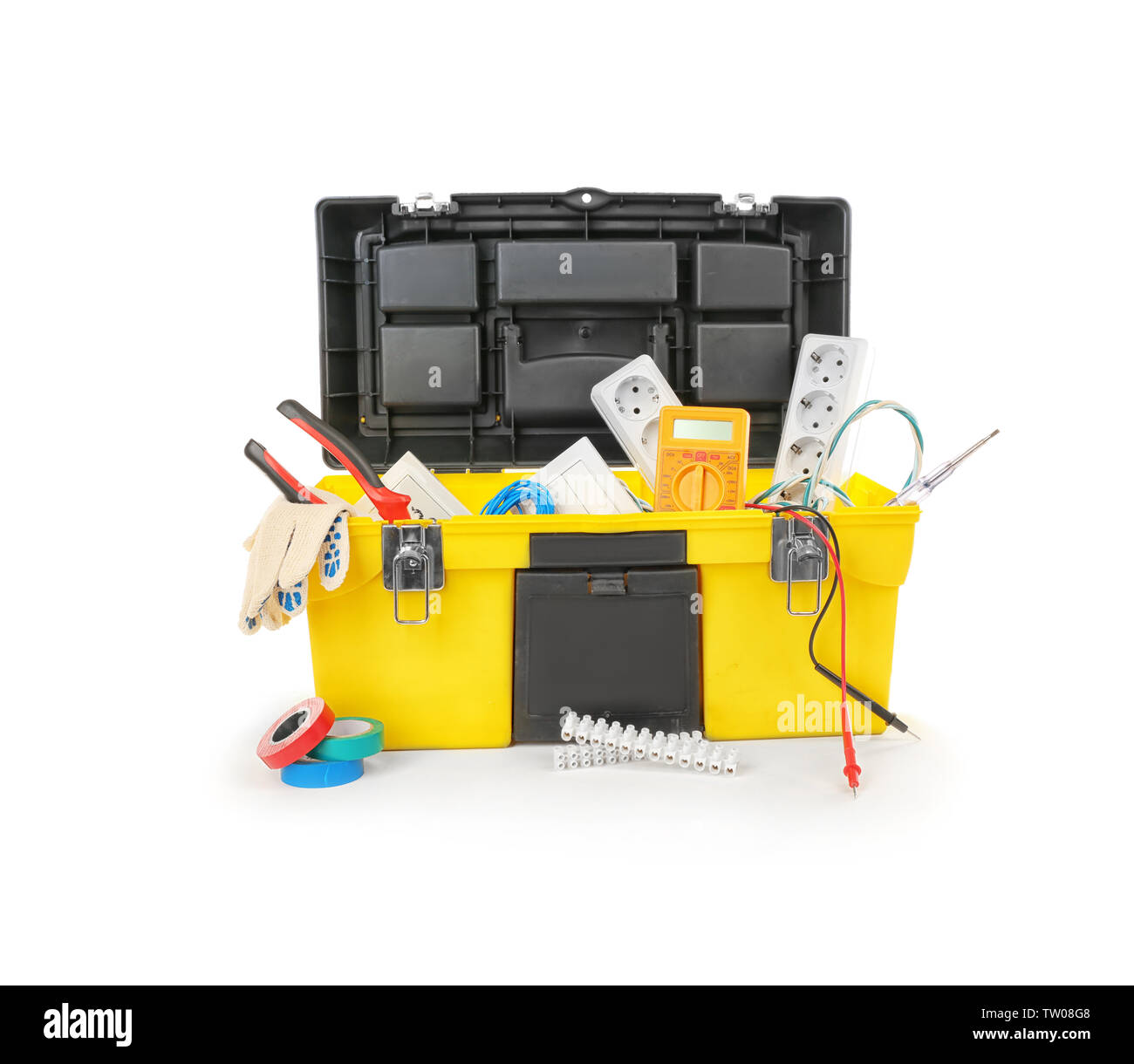 Chest with tools on white background - Stock Image