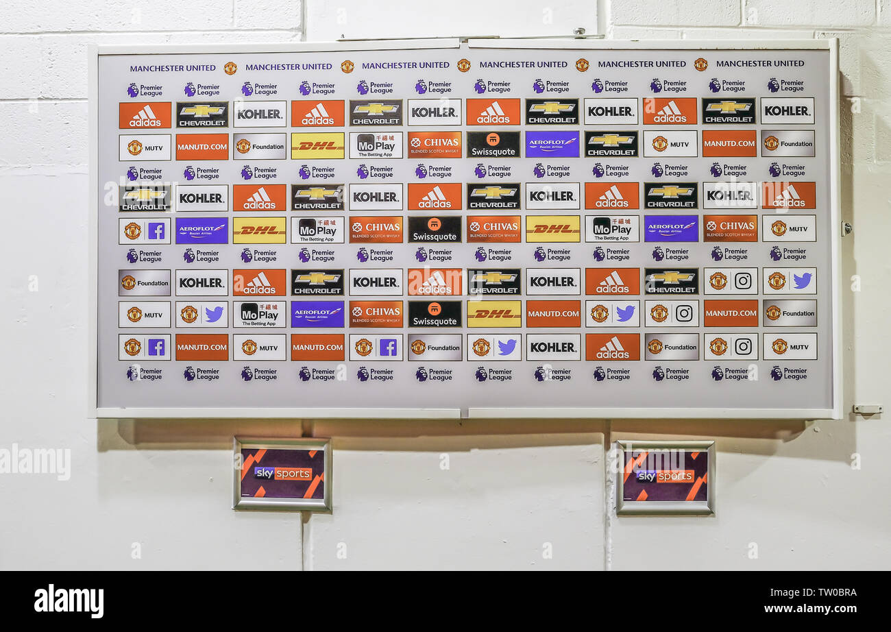 Old Trafford, Manchester, UK - January 20, 2019: Media interview area at the Manchester United football club. - Stock Image
