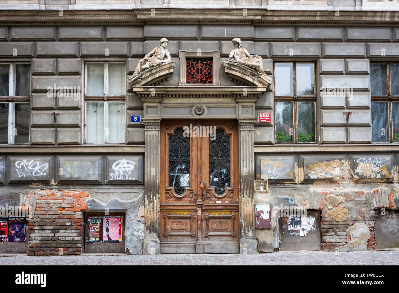 The doorway of an old building in Prague, The Czech Republic. - Stock Image
