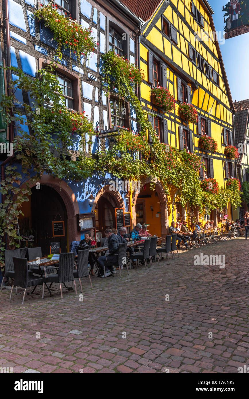 picturesque timbered houses overgrown with vine, Riquewihr, Alsace, France, historcial old village and touristy site Stock Photo