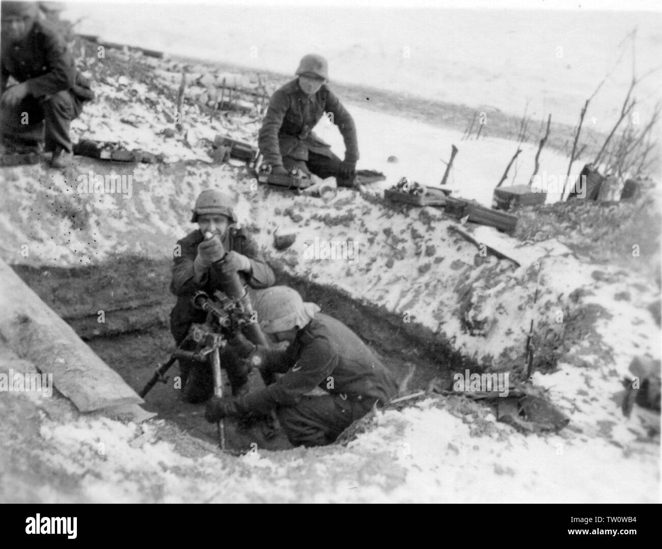 German Soldiers fire an 8cm Mortar on the Russian Front 1942 - Stock Image