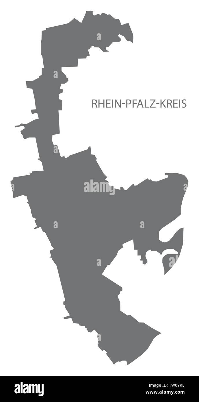 Rhein-Pfalz-Kreis grey county map of Rhineland-Palatinate DE - Stock Image