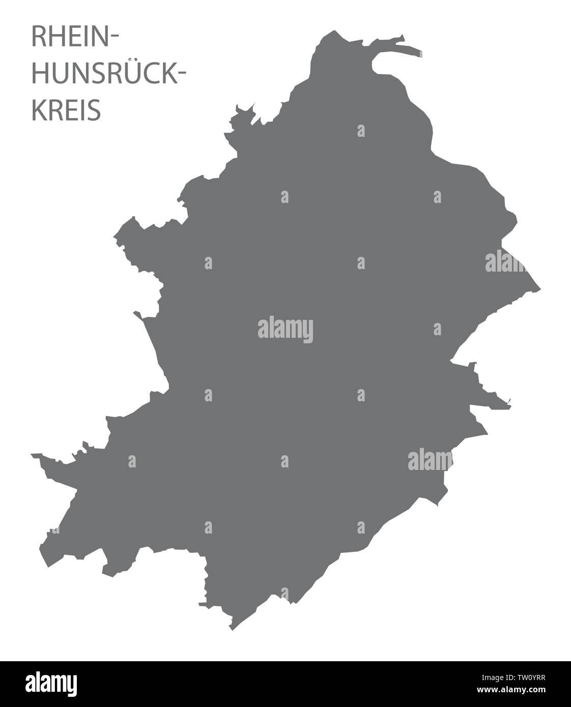 Rhein-Hunsrueck-Kreis grey county map of Rhineland-Palatinate DE - Stock Image