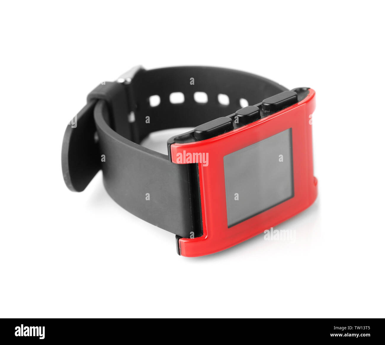 Modern heart rate monitor watch isolated on white - Stock Image