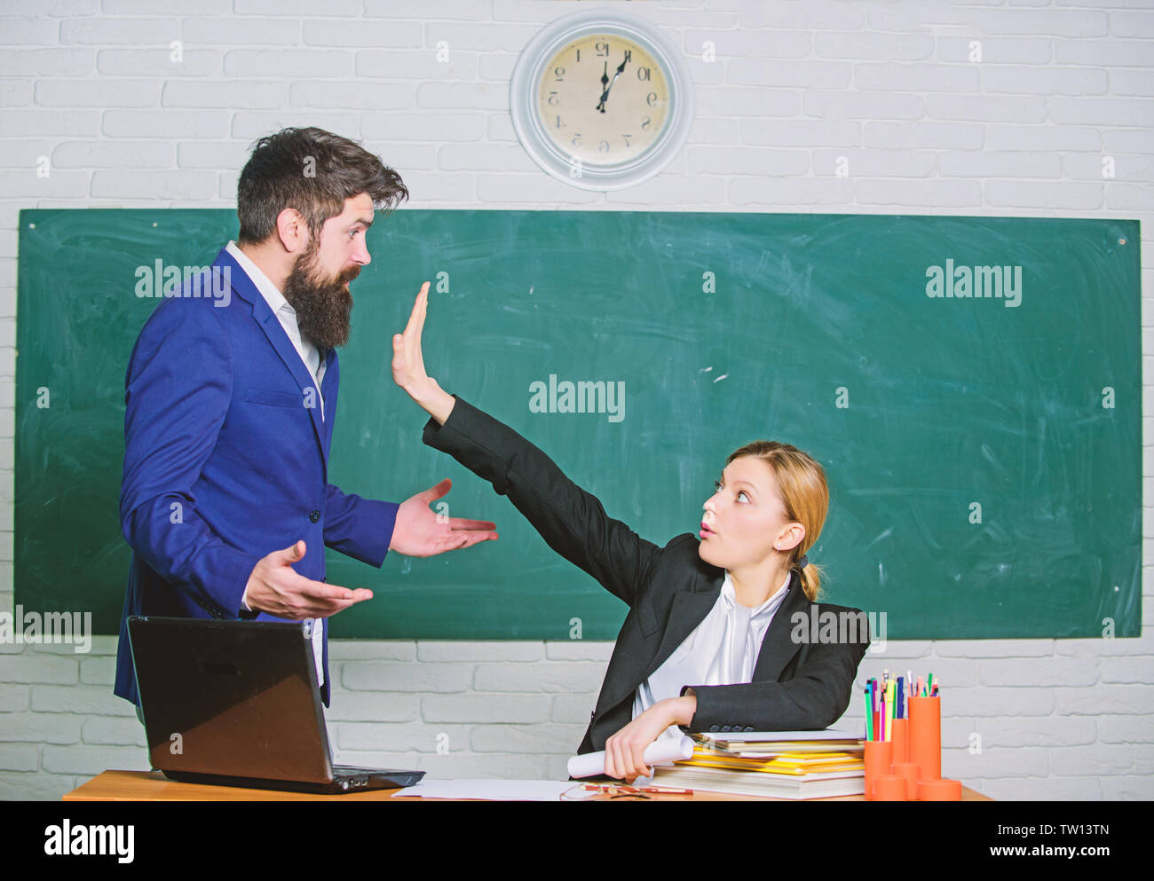 Criticism And Objection Concept Teacher Wants Man To Shut Up Please Shut Up Tired Of Complaints Indifferent About Objection Dismissed Objection School Teacher And Parent Stop Talking To Me Stock Photo