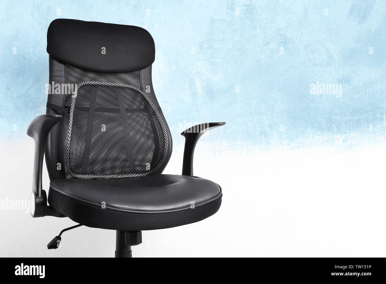 Office Chair With Mesh For Back Support On Light Background