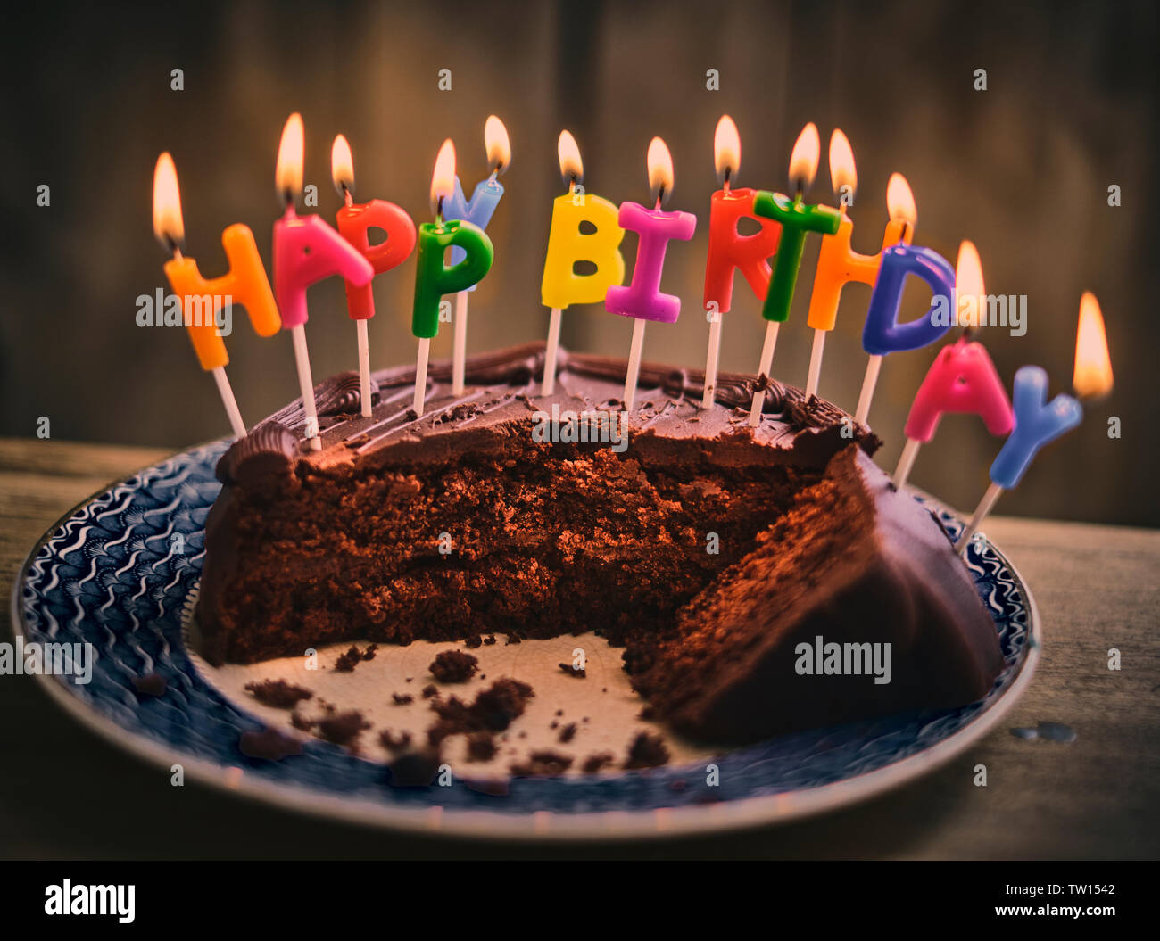 Phenomenal Happy Birthday Chocolate Cake With Colourful Lit Candles Stock Birthday Cards Printable Opercafe Filternl
