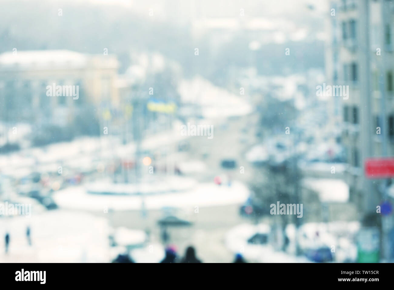 Blurred view of big city square - Stock Image