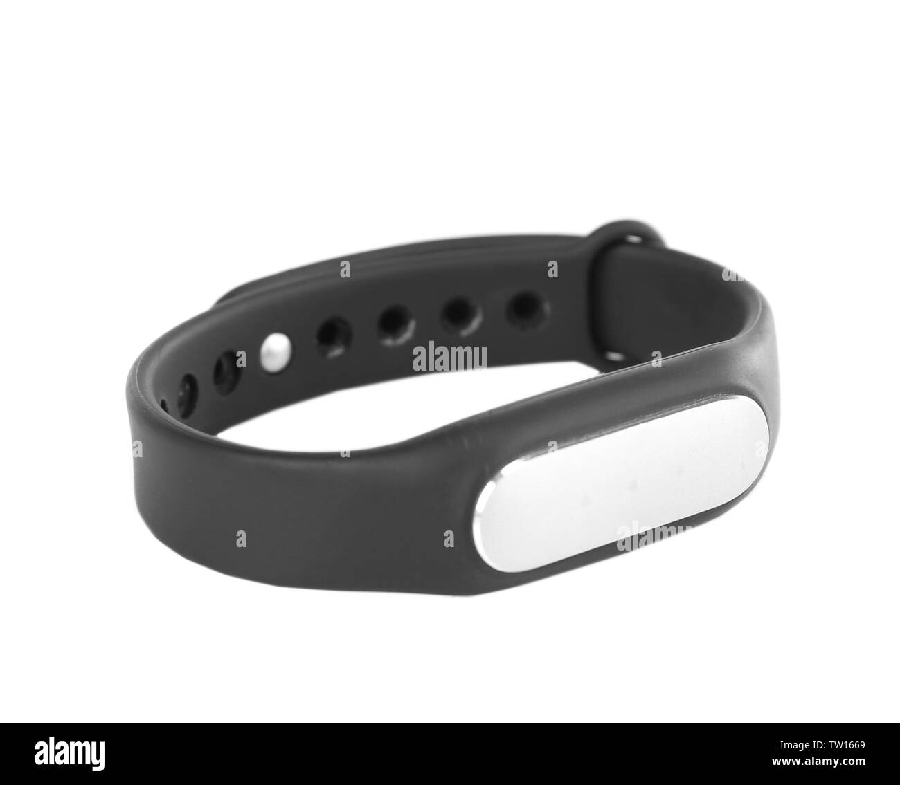Heart rate monitor watch isolated white - Stock Image