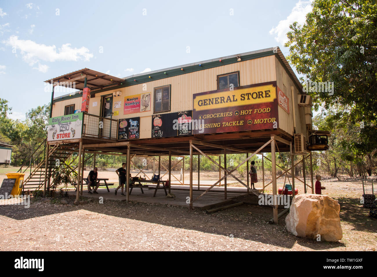 Daly, Northern Territory, Australia-September 15,2018: General store for the Daly River Inn with picnicking tourists and bushland in Daly, Australia - Stock Image