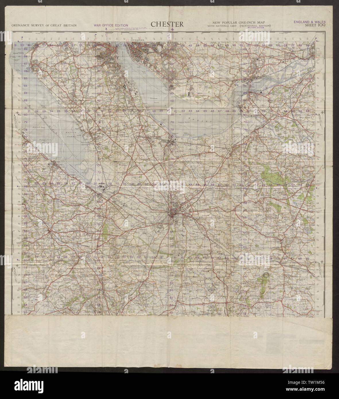 War Office Sheet 109 CHESTER Cheshire Birkenhead Mersey ...
