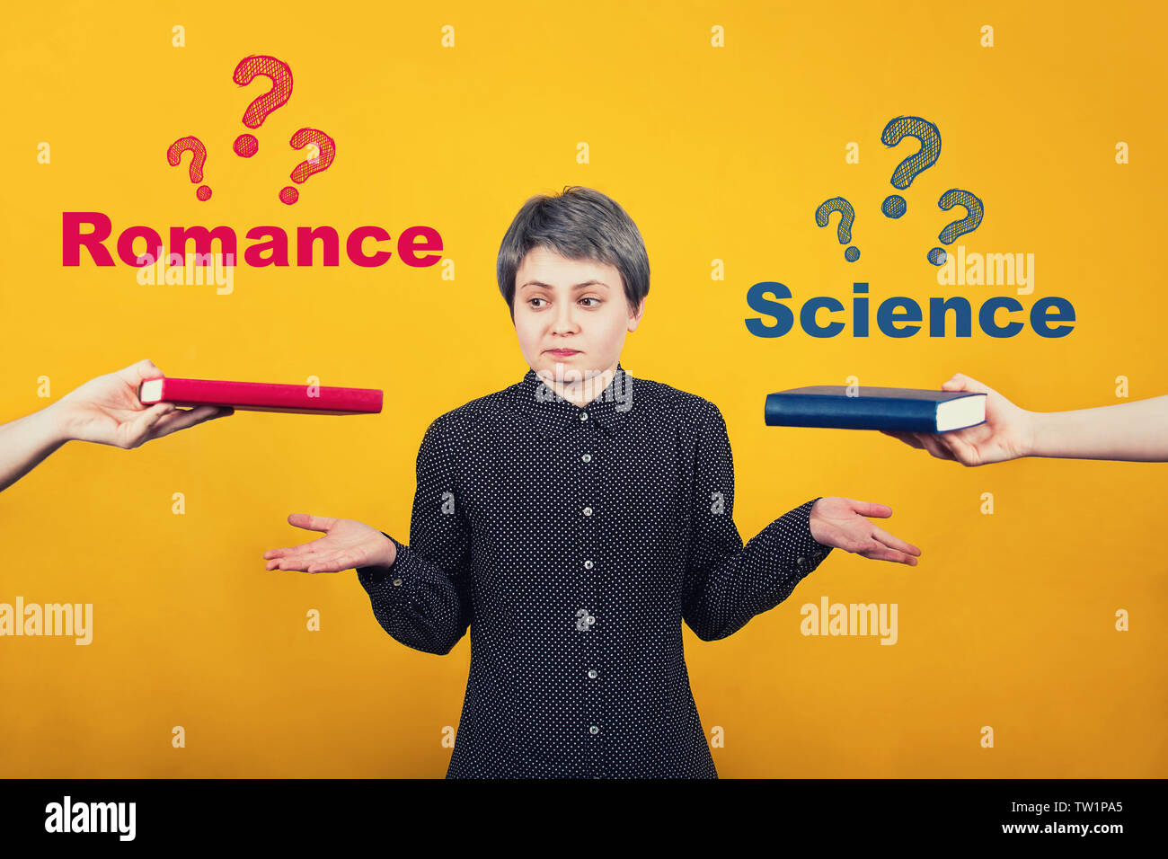 Puzzled young woman student balancing hands thinking what to read between a science book and romance. Choice dilemma, red vs blue. Education and liter - Stock Image