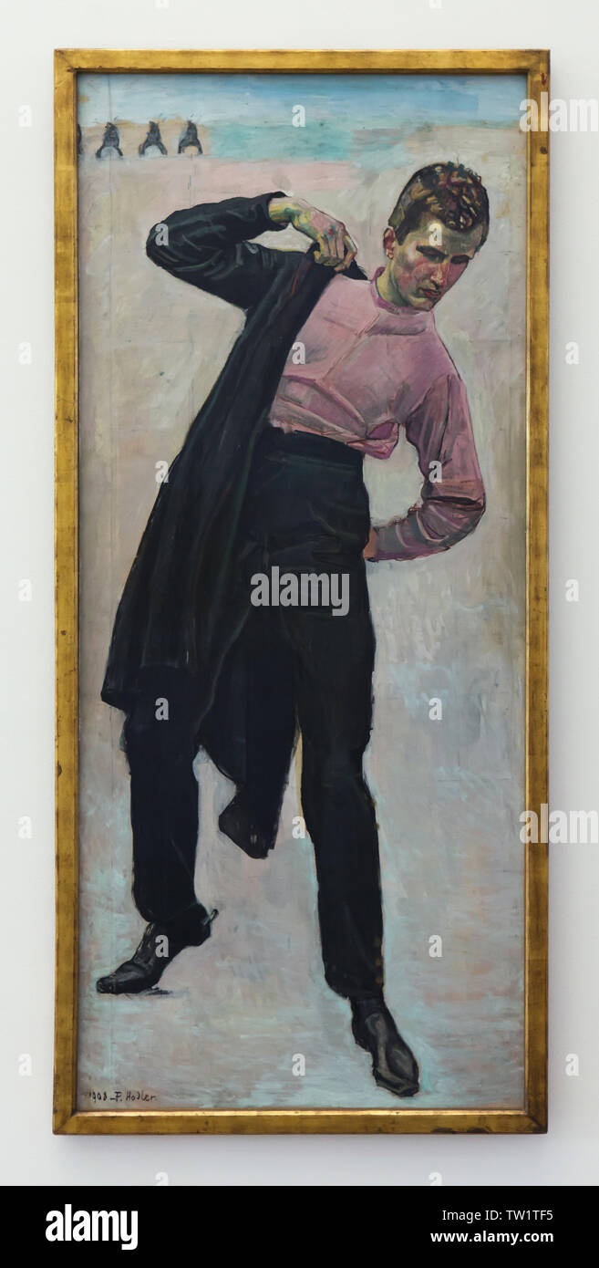 Painting 'Jena Student' by Swiss symbolist painter Ferdinand Hodler (1908) on display in the Pinakothek der Moderne in Munich, Bavaria, Germany. - Stock Image