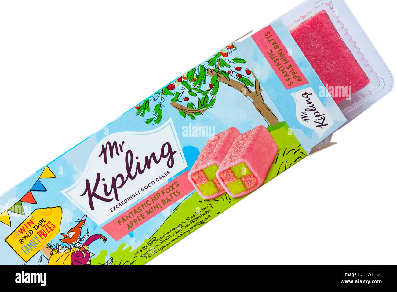Mr Kipling Fantastic Mr Fox S Apple Mini Batts Opened To Show Contents Set On White Background Exceedingly Good Cakes Stock Photo Alamy