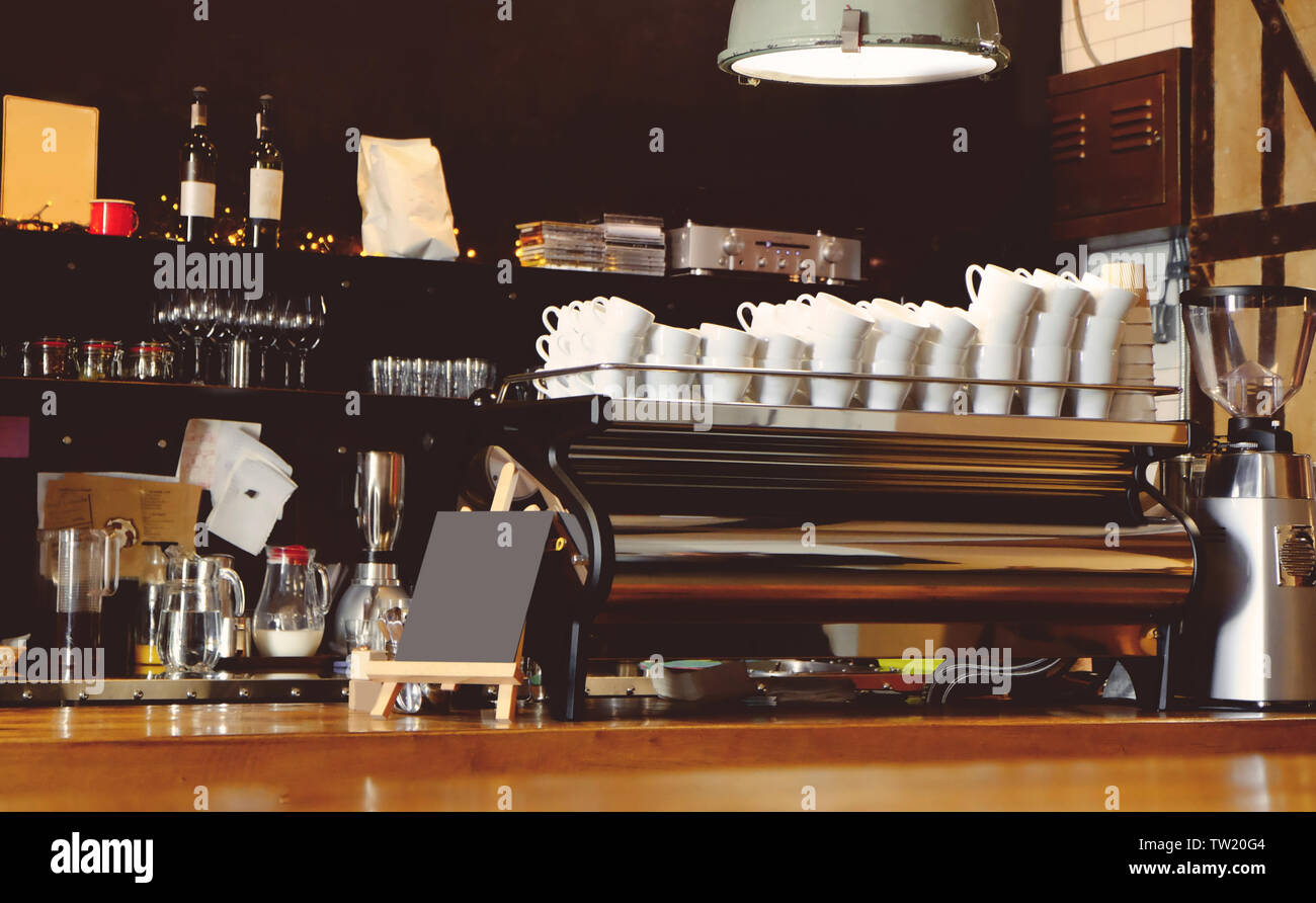 Bar Counter In Modern Cafe Stock Photo Alamy